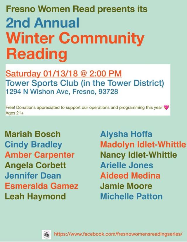 Flier for Fresno Women Read's second annual community reading