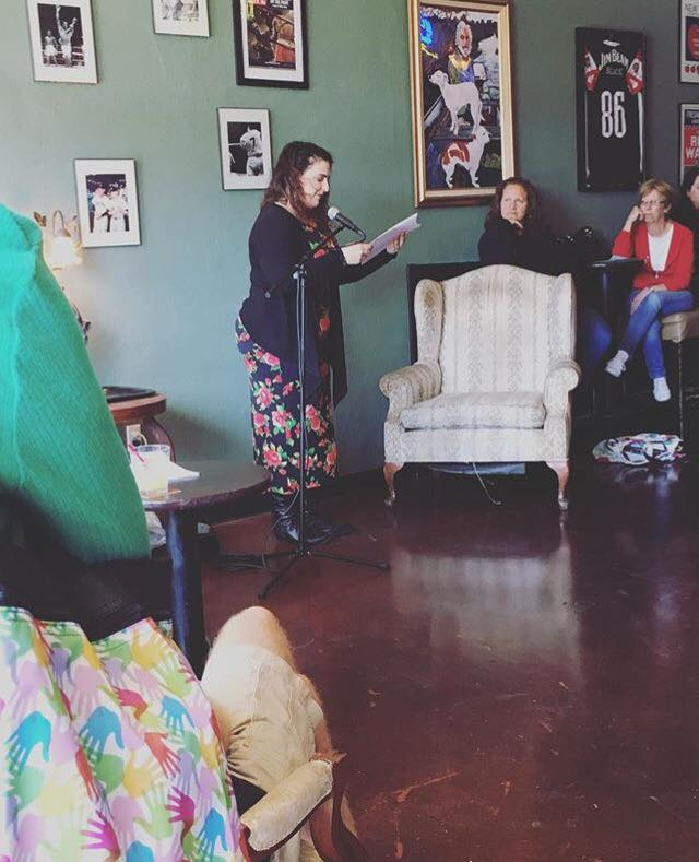 Photo of Leslie Santikian reading at LitHop 2017