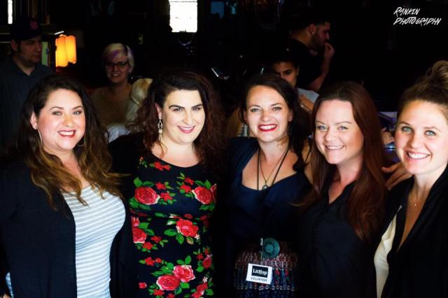 Photo of Jackie Huertaz, Leslie Santikian, Jennifer Dean, Melanie Kachadoorian, and Niki Lassen after their LitHop 2017 reading