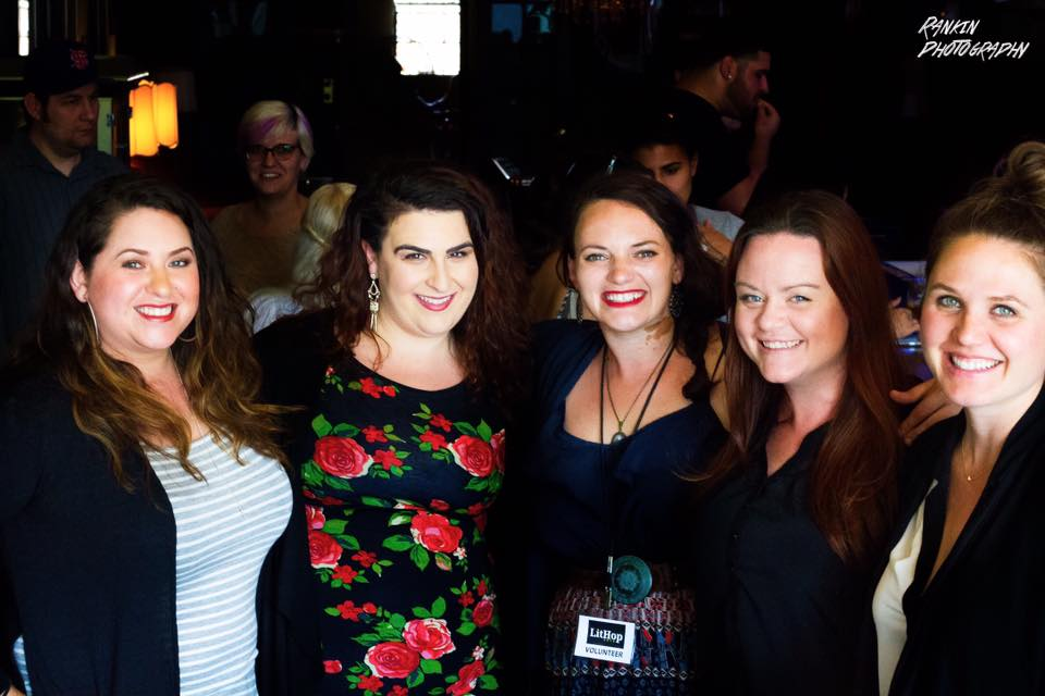 Photo of readers Jackie Huertaz, Leslie Santikian, Jennifer Dean, Melanie Kachadoorian, and Niki Lassen after their LitHop 2017 reading