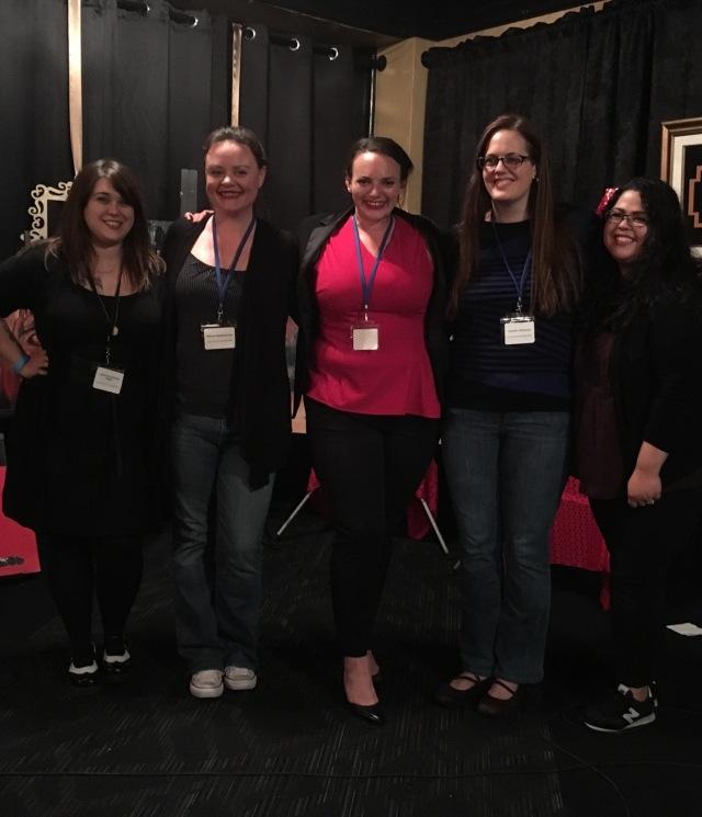 Photo of Laura Musselman-Dakin, Melanie Kachadoorian, Jennifer Dean, Jennifer Matteson, and Brenda Venezia, readers and organizers at WAMFF 2016