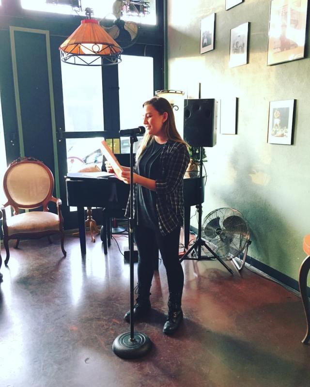 Photo of Breanna Johnson reading
