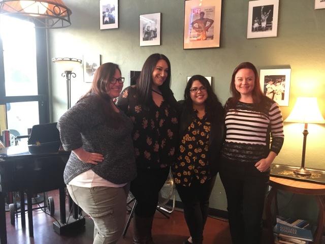 Photo of Fresno Women Read organizers, Amber Carpenter, Sarah Warren, Brenda Venezia, and Melanie Kachadoorian