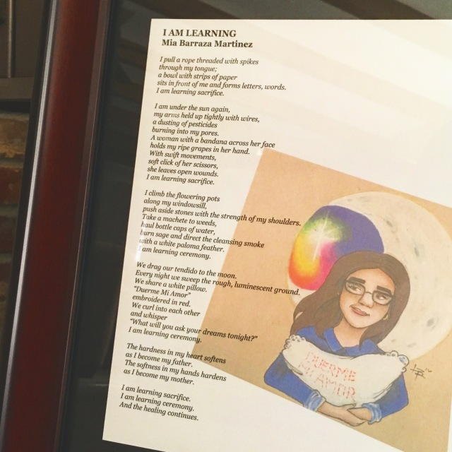 "Photo of broadside available at first annual community reading in honor of local poet and activist, Mia Barraza Martinez, featuring her poem, ""I Am Learning,"" along with artwork created for the broadside by local artist, Lauren Baker"