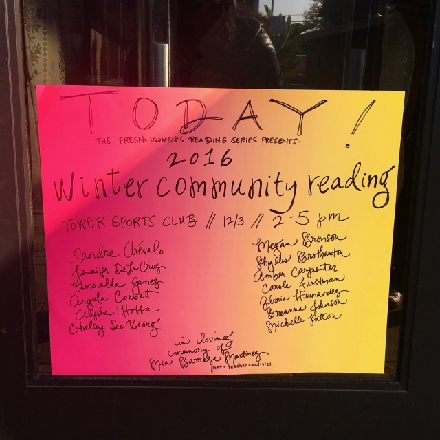 Photo of poster listing line-up for first annual community reading