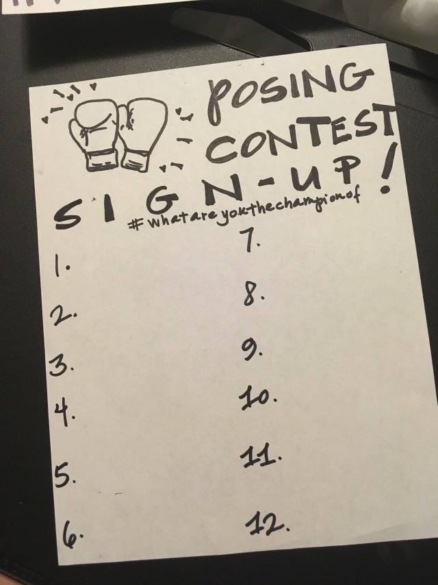 Photo of the posing contest sign-up sheet