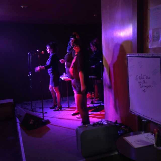 Photo of Fatty Cakes and the Puff Pastries performing at Randa Jarrar's book launch party