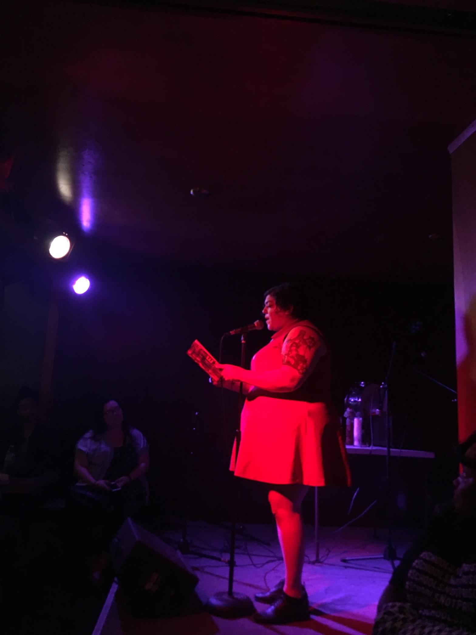 Photo of Randa Jarrar reading at the launch of her book, Him, Me, Muhammad Ali
