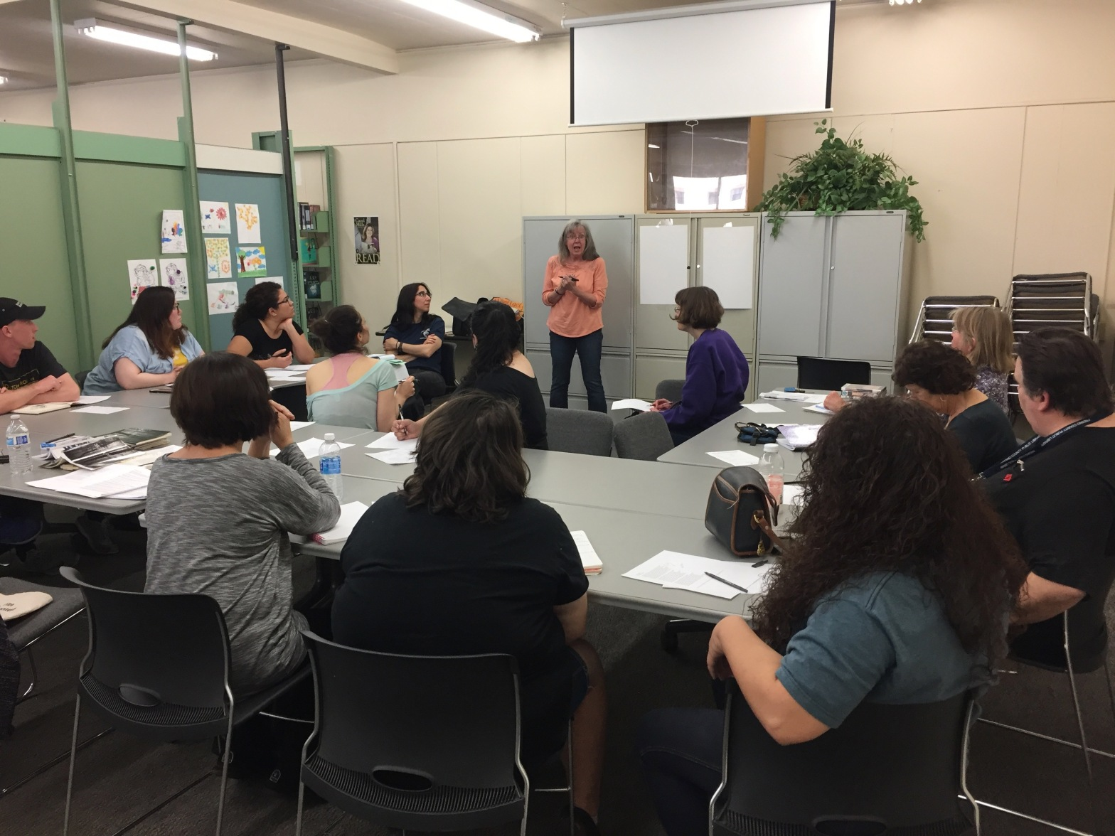 Megan Bohigian leading a poetry workshop at the library