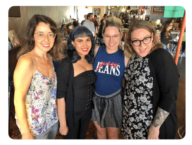 Photo of LitHop readers Jamie Asaye Fitzgerald Lahey, Monique Quintana, Brandi Spaethe, and Angela Corbett