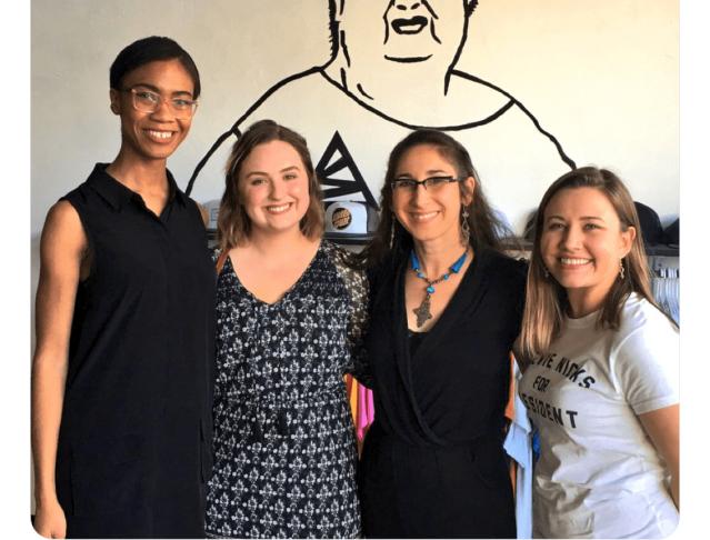 Photo of LitHop 2017 readers Arielle Jones, Tricia Savelli, Anoush Ekparian-Hadden and Breanna Johnson