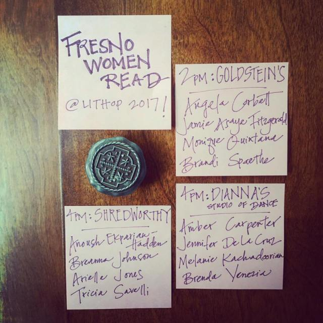 Social media ad for Fresno Women Read events at LitHop 2017 including reading information on post-its