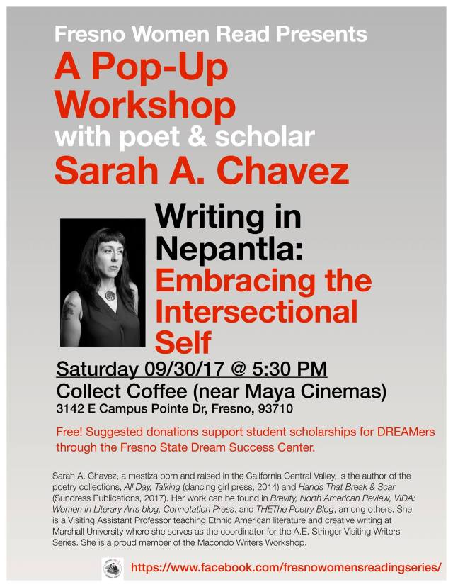 Flier for Sarah Chavez workshop