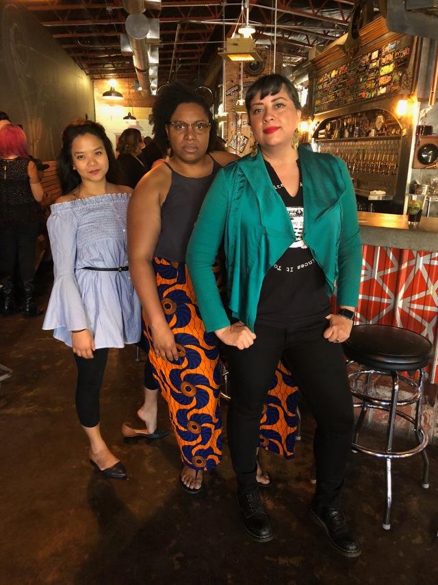 Sasha Pimentel, Ife-Chudeni Oputa, and Marisol Baca feeling especially badass after reading at LitHop 2018
