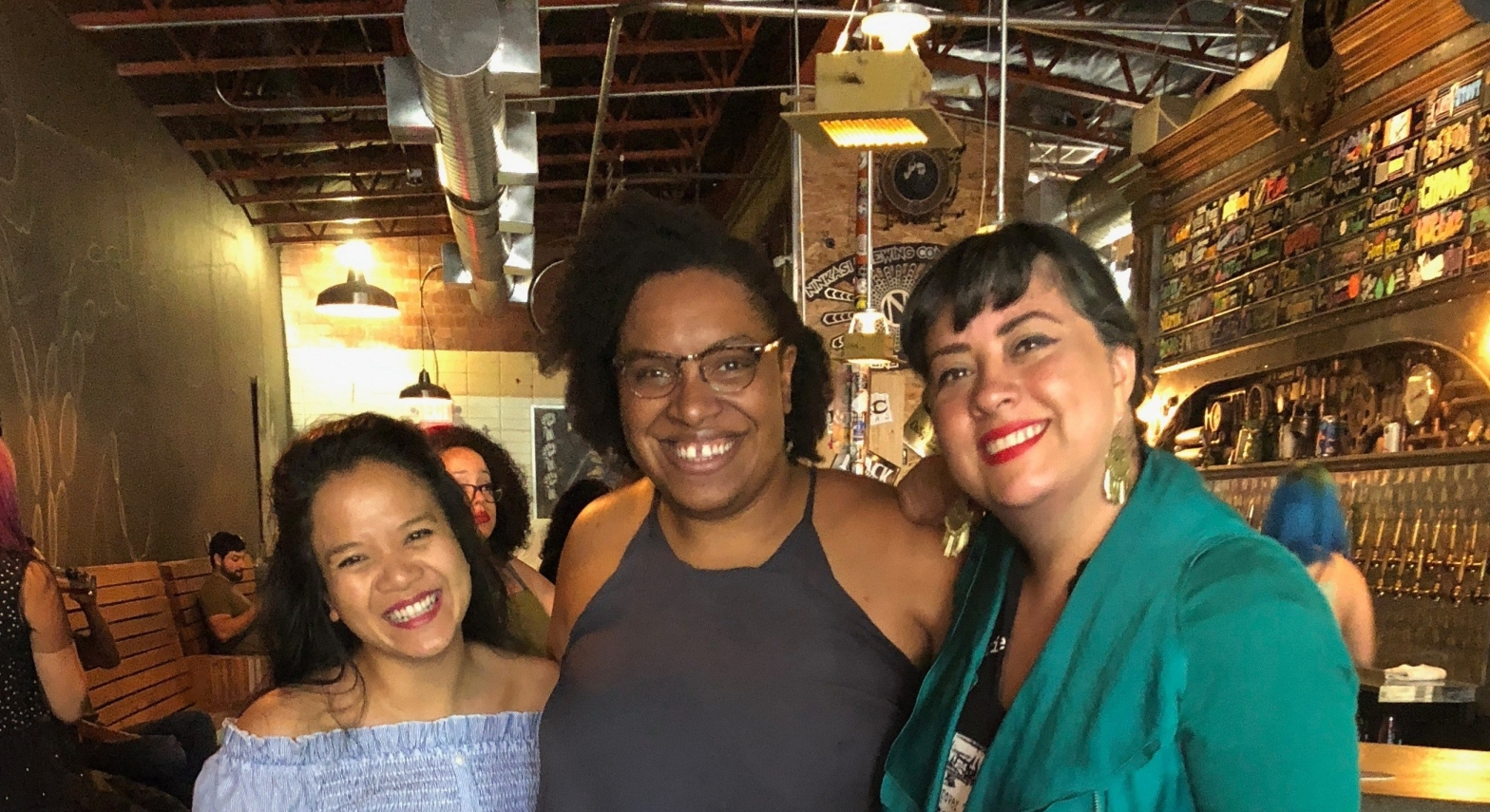 Sasha Pimentel, Ife-Chudeni Oputa, and Marisol Baca smiling after reading at LitHop 2018
