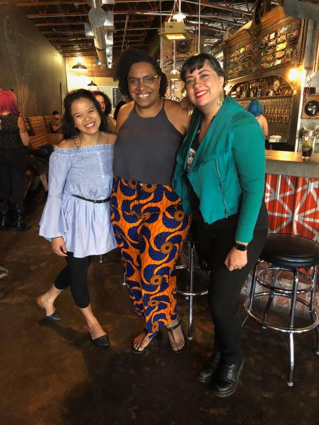 Sasha Pimentel, Ife-Chudeni Oputa, and Marisol Baca smiling after reading at LitHop 2018