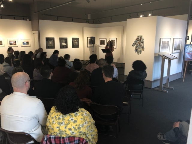 Photo of Aideed Medina reading for Fresno Women Read at Rogue Festival 2018