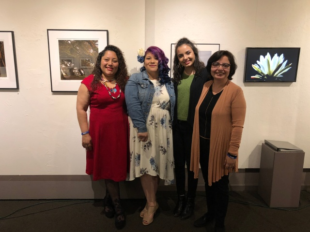 Group photo of readers from Fresno Women Read at Rogue Festival 2018: Aideed Medina, Natalie Rangel, Maya Vannini, and Samina Najmi