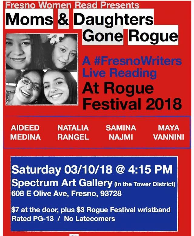 Flier for Fresno Women Read at Rogue Festival 2018