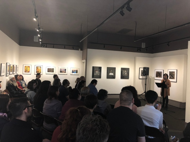 Photo of Samina Najmi reading for Fresno Women Read at Rogue Festival 2018