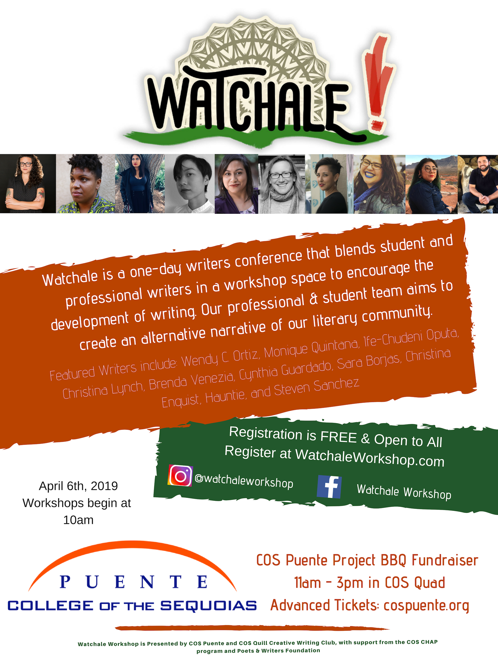 Flier for the Watchale Workshop conference at College of the Sequoias by Jamie Moore