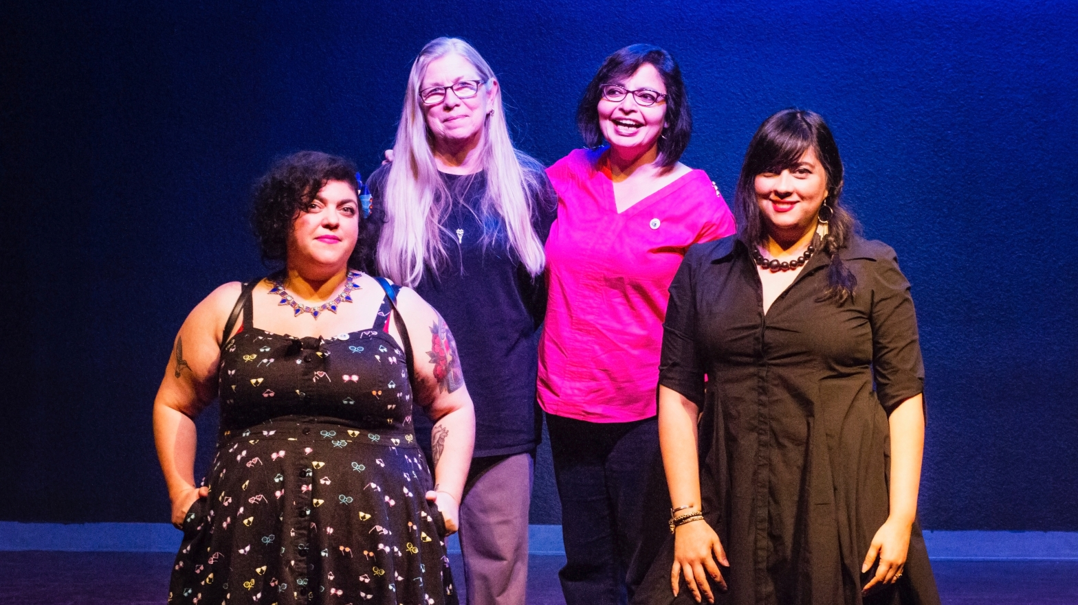 Group shot of all four readers: Randa Jarrar, Connie Hales, Samina Najmi, and Marisol Baca