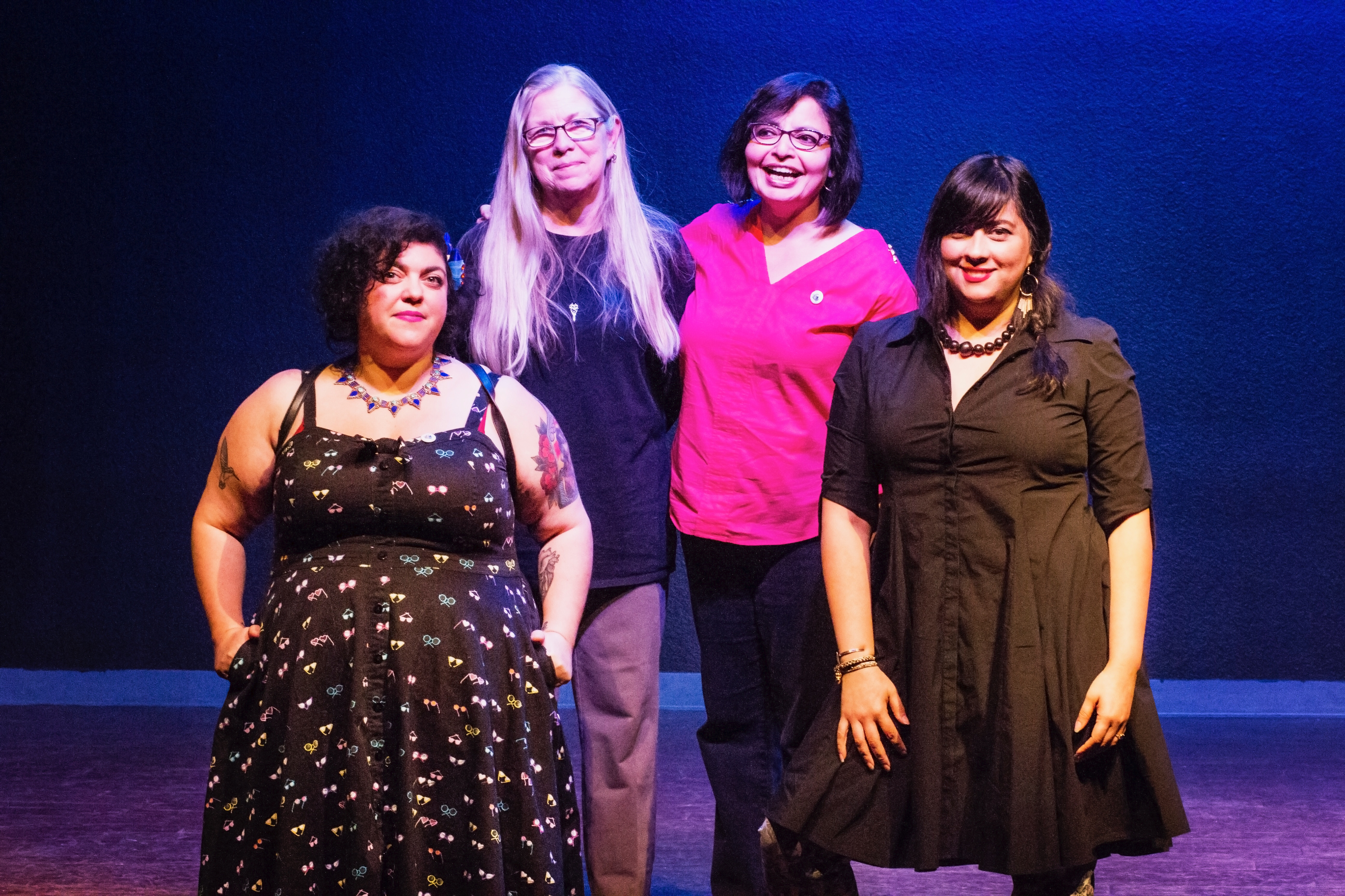 Group shot of all four readers: Randa Jarrar, Connie Hales, Samina Najmi, and Marisol Baca.