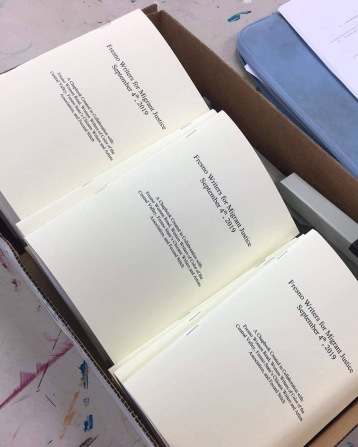 Image of box of chapbook copies available at event, created by the Chicanx Writers and Artists Association at Fresno State