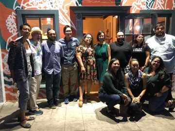 Group photo of writers and organizers for the Fresno event outside the Back Room of at the Revue